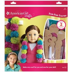 AMERICAN GIRL CRAFTS- Pom-Pom Scarves Kit. Create fun; colorful pom- poms that connect together to make this puffy; fluffy scarf. Kit makes two scarves; one for you and one for your doll. Kit includes...