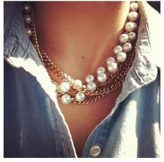 Gold, pearls and denim