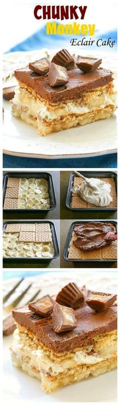 Este macaco Chunky & # 201; clair bolo é um não-bake sobremesa fácil com camadas de biscoitos, recheio de manteiga de amendoim e banana.  A cobertura de chocolate caseiro no topo faz a sobremesa!  the-girl-who-ate-everything.com