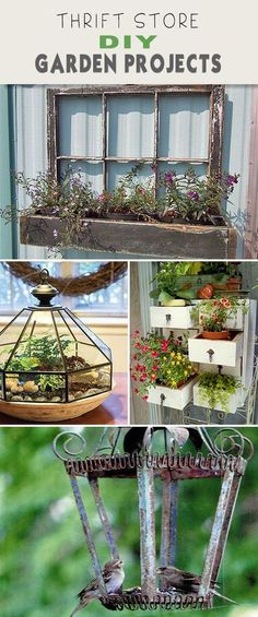 Thrift Store DIY Garden Projects! • Creative ideas, projects & tutorials! Turn an old outdoor lantern into a bird feeder or repurpose an old file cabinet into a garden planter! #thriftstoregardenprojects #thriftstorecrafts #gardening #DIYgardenprojects #thriftstoreDIYgardenprojects #DIY Diy Garden Projects, Garden Crafts, Outdoor Projects, Diy Garden Decor, Pallet Projects, Yard Art, Container Gardening, Gardening Tips, Organic Gardening