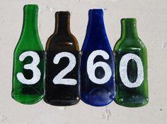 House number Bottle Slumping, Bottle House, House Numbers, Bottle Art, Fused Glass, Wine, Home Decor, Bottles, Decoration Home