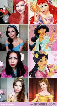 This girl transformed herself into all the Disney Princesses! RESPECT.
