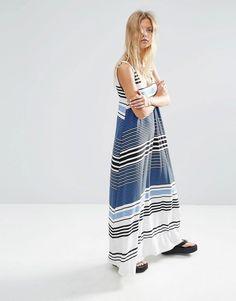 ASOS+Maxi+Dress+In+Variegated+Stripe+Print