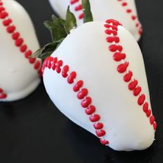 Baseball chocolate covered strawberrys.  Yum