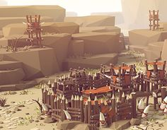 Low poly Style Illustration - Orc Village                                                                                                                                                                                 More