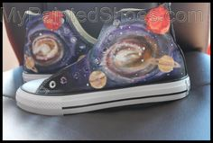 Custom Galaxy High Top Canvas Sneaker Galaxy Converse All Star H Painted Converse, Painted Canvas Shoes, Hand Painted Shoes, Galaxy Shoes, Galaxy Converse, Converse All Star, Custom Converse Shoes, Converse Design, Top Shoes