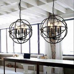 Metal Orb Chandelier Black Globe Sphere Modern Ceiling Lighting Light Fixture