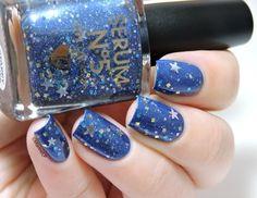 Starry Nights #blue stars #nailart -  bellashoot.com / bellashoot iPhone & iPad app