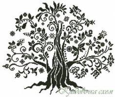 Дерево счастья - Графика - Монохром, графика - Схемы в XSD - Кладовочка схем - вышивка крестиком