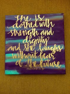 She Is Clothed With Strength And Dignity Custom Canvas Bible Verse Wall Home Decor Proverbs Blue Gold And Purple