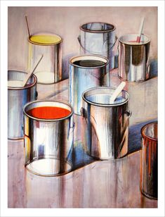 """For Unity:  Wayne Thiebaud  """"Paint Cans""""  1990, Lithograph"""