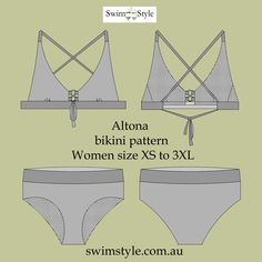 The stunning new Altona sewing pattern. Bikini sewing pattern Multi size XS to 3XL Good coverage on legs ,finished with wide bands.