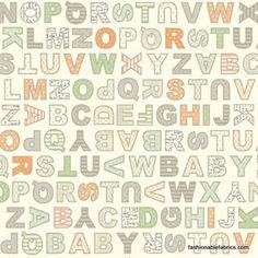 Lullaby Baby Alphabet on Cream by Anthology Fabrics $8.95