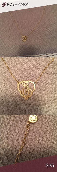Gold initial C necklace Gold tone initial necklace. Hardly worn. It's 17 inches long but has adjustable settings on chain. Jewelry Necklaces