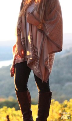 Poncho Mountainside | Napa Valley: Get this same vibe with the CAbi Ink Ruby tucked in to boots and either the Charcoal or White Multi Topper!