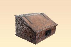 Elizabethan carved oak writing slope, Marhamchurch antiques