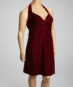 Take a look at this Burgundy Velvet Ruched Halter Dress - Plus by SHE on #zulily today!