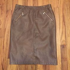 Charter Club🔅Brown Faux Leather Skirt Sexy brown faux leather Charter Club skirt with gold zipper detail. A perfect skirt! Worn maybe two or three times. Perfect condition. Charter Club Skirts