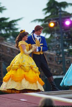 Belle and Prince Adam - Finally. The Beast costume is okay, but his face is made of felt.