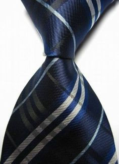 NEW Navy Silver Striped Jacquard Woven Classic Necktie 100 Silk MEN'S TIE | eBay 2,71$
