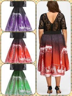 Christmas dress to cheer this holiday. Curvy Girl Outfits, Plus Size Outfits, Flattering Dresses, Holiday Outfits, Tie Dye Skirt, Cheer, Ballet Skirt, Skirts, Christmas