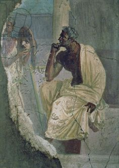 Actor and Mask, from the House of the Tragic Poet, 1st century BC (fresco). Museo Archeologico Nazionale, Naples, Italy