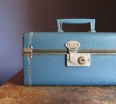 Indigo blue vintage train case