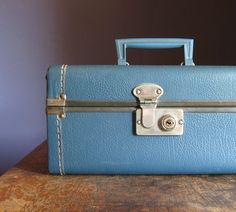 Indigo blue vintage train case