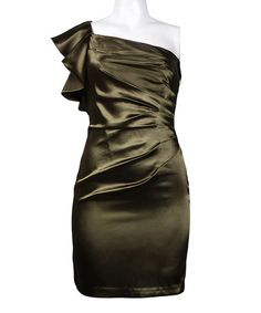 Love this Olive Satin Asymmetrical Dress - Women on #zulily! #zulilyfinds