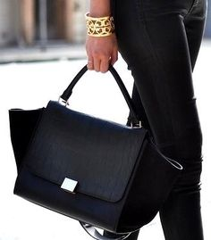 Celine Trapeze Leather Croco Handbag in Black
