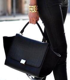 Celine Trapeze Leather Croco Handbag in Black