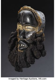 African: , Dan (Liberia/Côte d'Ivoire). Face Mask. Wood, pigment, human hair,fiber, cloth, cowry shells, aluminum, iron. Height of woo... African Masks, African Art, High Forehead, Art Populaire, Masks Art, African Culture, Ocean Art, Ivory Coast, Ivoire