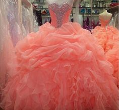 2014 Coral Sexy Quinceanera Formal Prom Party Ball Gown Custom All Size 2-22+