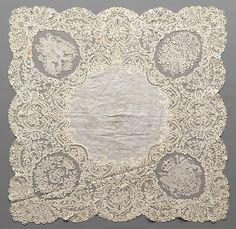 1853 Belgian (Brussels) Linen and cotton, needle lace (point de gaze), bobbin lace