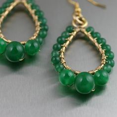 Green Jade Wire Wrapped 14K Gold-filled Earrings