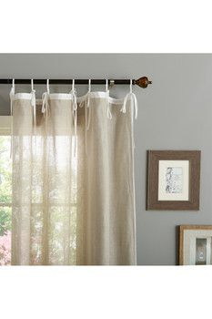 Linen Tie Top Curtains - Set of 2 Panels - Natural