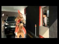 Strange yet funny Korean McDonald's commercial has an ancient warrior ordering at the drive thru on a large bouncy toy horse. A Funny, Funny Stuff, Hot Mess, Mcdonalds, Some Fun, Commercial, Lol, Laughing, Films
