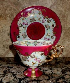 BEAUTIFUL ROYAL SEALY FOOTED TEACUP & SAUCER-MADE IN JAPAN-BURGUNDY WITH GOLD #ROYALSEALYMADEINJAPAN