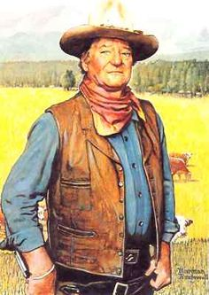 Norman Rockwell portrait of John Wayne