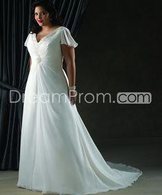 Brilliant A-line/Princess V-neck Short-Sleeve Floor-Length Court Beaded Plus Size Wedding Dresses