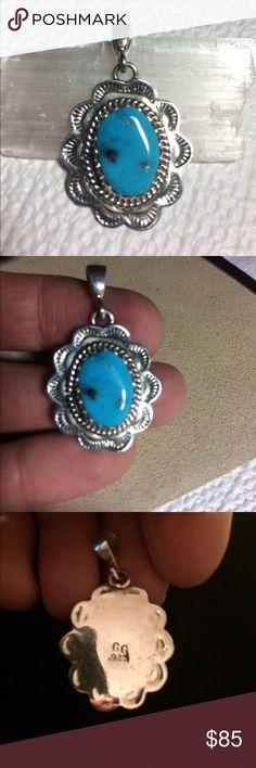 """Vintage Native Sterling Turquoise Pendant  Beautiful Color Blue Turquoise and Sterling Silver Vintage Native American Pendant SIGNED by Artist and marked 925. 1 1/2"""" to top of bail. just under 1"""" wide. Gorgeous Piece Jewelry Necklaces"""