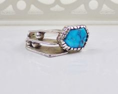Modernist Sterling Silver Turquoise Ring by LittleBittreasures