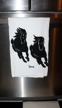 "100% Cotton Dish Towel- Screen-Printed Wild Horses  - ""Love"". Click on the picture to learn more about this design."