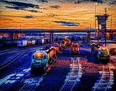 Sunset On The Yards DA - The sunsets on the BNSF Argentine yards in Kansas City Kansas with a digital art filter of my own settings applied to create a rich and vibrant painting image