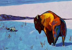 "Acrylic on canvas, ""Twenty Below Bison,"" by Joe Triano, Fine Art America. Buffalo Painting, Buffalo Art, American Bison, Farm Art, Southwest Art, Dog Teeth, Animal Totems, Watercolor Animals, Lovers Art"