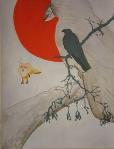 Leila gaillard mes dessins les fables de la fontaine le corbeau et le renard  format 50/65