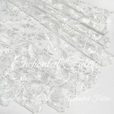 White Embroidered Double Scalloped Wedding Lace by EnchantedFabric  https://www.etsy.com/shop/EnchantedFabric