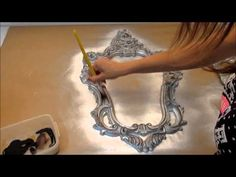 DIY :: Moldura Provençal, SUPER Fácil e Barato. - YouTube Decoupage Tutorial, Decoupage Paper, Funky Painted Furniture, Paint Furniture, Hobbies And Crafts, Diy And Crafts, Metal Engraving, Antique Boxes, Wood Wall Decor