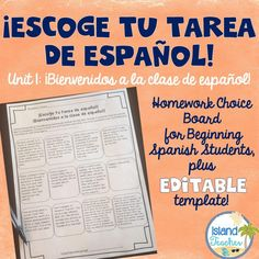 Homework choice board for first unit of Spanish level 1, plus an editable template.