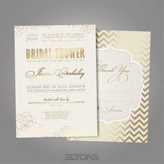 Bridal Shower Golden Flowers Invitation / White and by EltonsLogo, $15.00